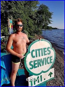 Vintage LG Cities Service Motor Oil Gasoline Gas Oil Metal Sign 51inX40in