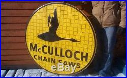 Vintage LG McCulloch Chain Saw Metal Sign Outboard Oil Mobil Socony Gas Goose
