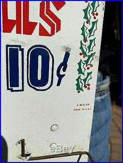 Vintage LG Standard Motor Oil Advertising Santa Clause Metal Map Sign Gasoline