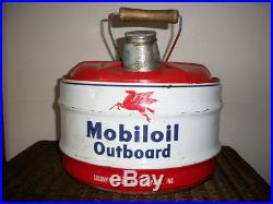 Vintage MOBILOIL OUTBOARD MOTOR OIL can 2 1/2 Gal. SOCONY, wood handle EXCELLENT