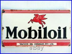 Vintage MOBILOIL Vacuum Oil Company Pty Ltd PETROL PORCELAIN ADVERTISING SIGN