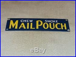 Vintage Mail Pouch Smoke Chew 12 Porcelain Metal Tobacco Gas Oil Door Push Sign