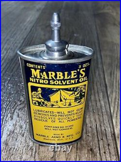 Vintage Marble's Oil Can Handy Oiler with Camping Graphics Lead Top Gun Hunting