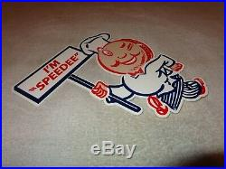 Vintage Mcdonald's Fast Food Restaurant I'm Speedee 12 Metal Gasoline Oil Sign