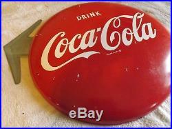 Vintage Metal 16 Coca-Cola Coke Button Arrow Sign SODA GAS OIL Non Porcelain