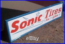 Vintage Metal Early Sonic Tires Advert Sign Gasoline Gas Oil 60X16 Futuristic