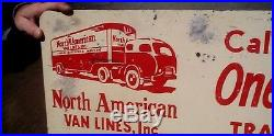 Vintage Metal North American Van Lines Sign Oil Gas W 1930s Moving Truck Graphic