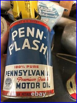 Vintage Metal PENN Flash MOTOR OIL 1-Quart Can Empty Crystal Penn