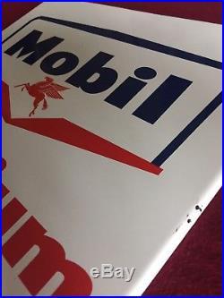 Vintage Mobil Gas Oil Porcelain Gas Pump Sign Pegasus Original Mobilgas 12x13