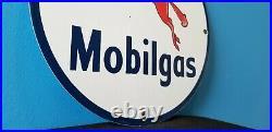 Vintage Mobil Gasoline Porcelain Pegasus Mobilgas Oil Service Station Pump Sign