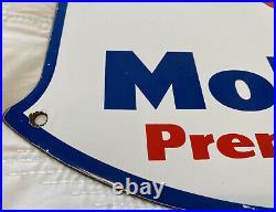 Vintage Mobil Premium Gasoline Porcelain Sign Gas Station Pump Plate Peggy Oil