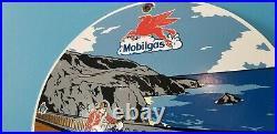 Vintage Mobilgas Gasoline Porcelain Mobil Oil Pegasus Motorcycle Service Sign