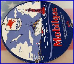 Vintage Mobilgas Marine Porcelain Sign Pump Plate Motor Oil Gas Station Nautical