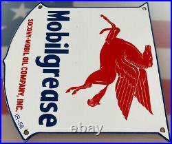 Vintage Mobilgrease Porcelain Sign Gas Station Service Station Gas Mobil Oil