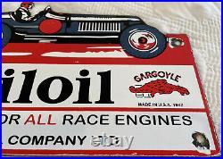 Vintage Mobiloil Porcelain Sign, Gas Station, Pump Plate, Mobil Pegasus, Oil