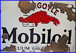 Vintage Mobiloil Vacuum Oil Company Porcelain Enamel Sign Gargoyle Brand Rare #2