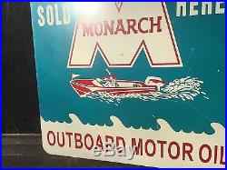 Vintage Monarch Outboard Boat Motor Oil Flange Sign Gas Chain Saws Lawn Mower