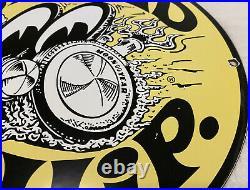 Vintage Moon Eyes Speed Equipment Porcelain Sign 11 3/4 Metal Gasoline Oil