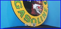 Vintage Musgo Gasoline Porcelain Gas Motor Oil Pump Plate Service Station Sign