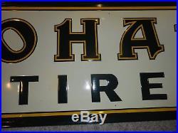 Vintage NOS ORIGINAL MOHAWK TIRES GAS OIL Metal ADVERTISING EMBOSSED SIGN