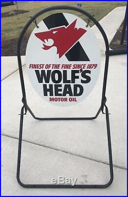 Vintage NOS Wolf's Head OIL Double Sided GAS STATION Advertising Sign NEW IN BOX