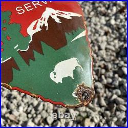 Vintage National Park Service Porcelain Arrowhead US Forest Ranger Gas Oil Sign