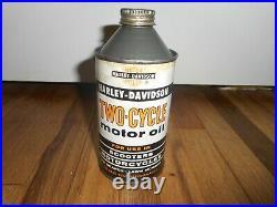 Vintage ORIG HD HARLEY DAVIDSON 2 CYCLE MOTORCYCLE CONETOP ADVERTISING OIL CAN