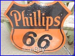 Vintage ORIGINAL 30 Porcelain 2-Sided DSP PHILLIPS 66 Gas Oil Advertising SIGN