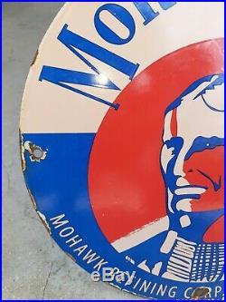 Vintage Old 1951 Mohawk Oils Porcelain Sign Gas Station Sign Indian Chief Rare