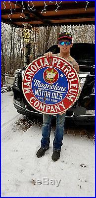 Vintage Old 30in Porcelain Magnolia Magnolene Gasoline Sign Oil Gas 2sided GR8