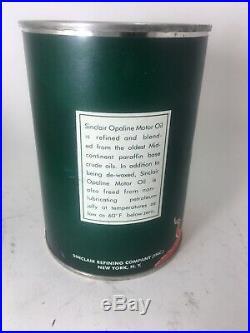 Vintage Original 1 Quart Sinclair Opaline Motor Oil Can Red Dino Nice