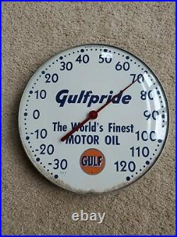 Vintage Original 12 Gulfpride Gulf Motor Oil Thermometer Sign Gas 511A