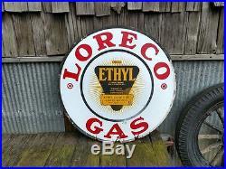 Vintage Original 30 LORECO Ethyl Gasoline Porcelain Sign Lousiana Oil Co