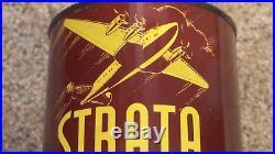 Vintage Original FULL MINT Strata Aviation Motor Oil Can NOS NICE ONE