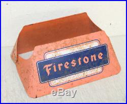 Vintage Original Firestone Tire Stand Sign Gas Oil Garage Display EARLY