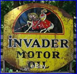 Vintage Original INVADER MOTOR OIL 2 Sided Enamel Metal Gas Station Sign 30x30