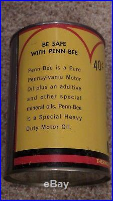 Vintage Original MINT Penn-Bee Motor Oil Can Bee Graphic FULL NOS NICE ONE