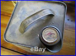 Vintage Original Mobiloil Gargoyle Square 1-Gallon Oil Can Early Good Condition