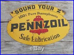 Vintage Original PENNZOIL MOTOR OIL SOUND YOUR Z OIL RACK Advertising Metal SIGN