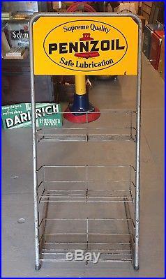 Vintage Original PENNZOIL Safe Lubrication Motor Oil Can Rack Display Sign 41