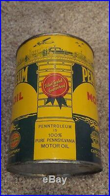 Vintage Original Penntroleum Motor Oil Can Graphic MINT One Quart NICE ONE
