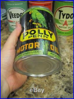 Vintage Original Polly Penn Motor Oil Can Quart Graphic Metal