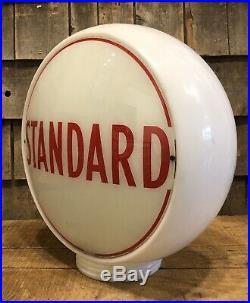 Vintage Original STANDARD Oil Milk Glass Wide Body Gas Station Pump Globe Sign