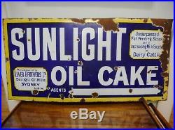 Vintage Original Sunlight Oil Cake Lever Brothers Dairy Cattle Enamel Sign