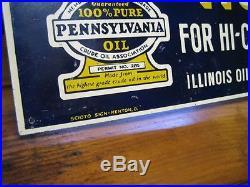 Vintage Original Welch Penn Motor Oil Sign Illinois Rockford SST Not Porcelain