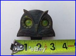 Vintage Owl License Plate Topper Glass Eyes National Colortype GAS OIL COLA