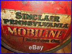 Vintage PENNSYLVANIA MOBILINE SINCLAIR MOTOR OIL Advertising ROCKER CAN ORIGINAL