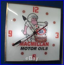 Vintage Pam Lighted Advertising MACMILLAN MOTOR OIL Clock