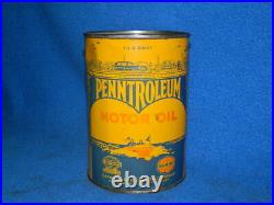 Vintage Penntroleum Metal Oil Can Quart Full of Oil Unopened Cato Oklahoma City