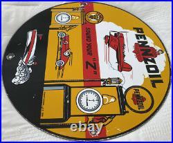 Vintage Pennzoil Porcelain Service Sign, Gas Station, Pump Plate, Motor Oil